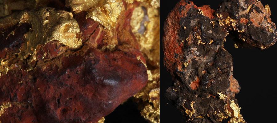 鉄が付着している自然金