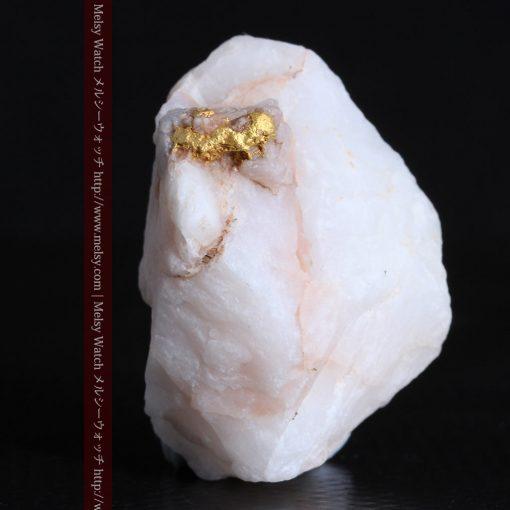 14.43gの厚みのある石英に立体的に付く自然金-g0297-4