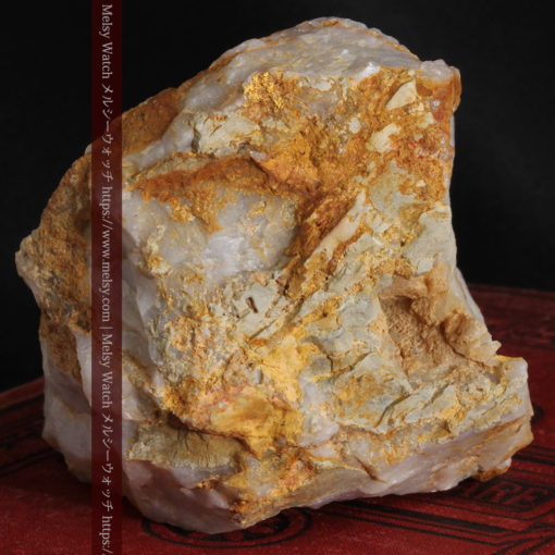 301gのソフトボール大の超巨大石英と自然金-G0309-6