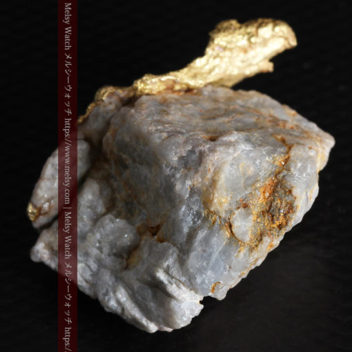 12.03gの非常に珍しいリーフ状のゴールドを冠した石英と自然金-G0327-15