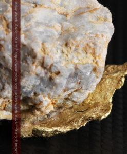 12.03gの非常に珍しいリーフ状のゴールドを冠した石英と自然金-G0327-7