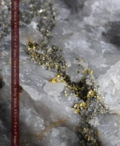 25.63gの石英の中に流れ星のように見える粒子状の美しい自然金-G0329-1