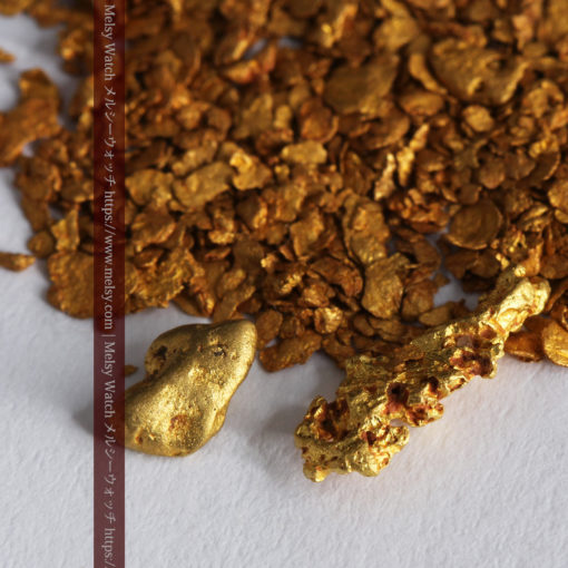 2.59gの小さな砂金・薄片金とやや粒の大きな自然金2点-G0336-2