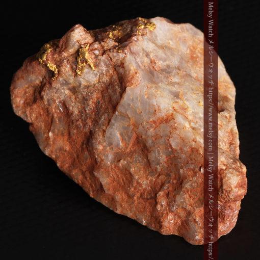 40gの大きな石英の中に20点以上広がる自然金-G0360-11