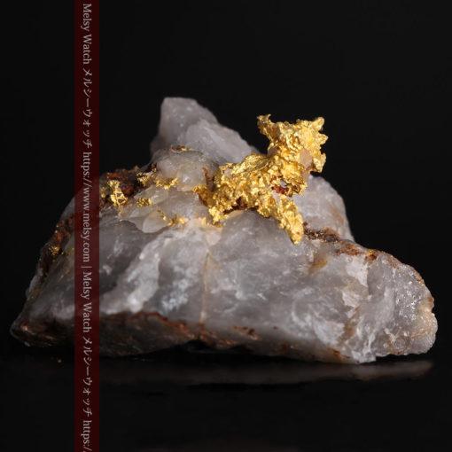 4.39gの石英から飛び出す立体的な自然金-g0386-1
