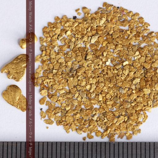 3.09gの小さな薄片金とやや粒の大きな自然金3点-G0389-9