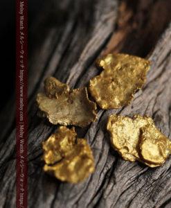 2.17gのやや粒の大きな薄片金・自然金4点-G0429-1