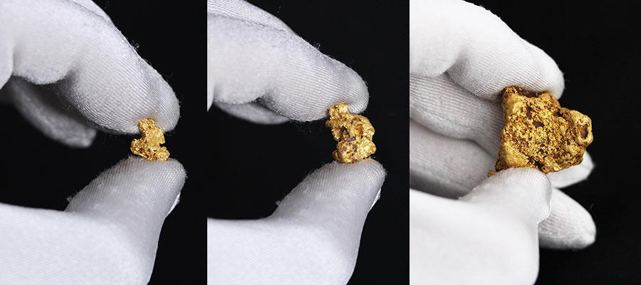 自然金のサイズ比較