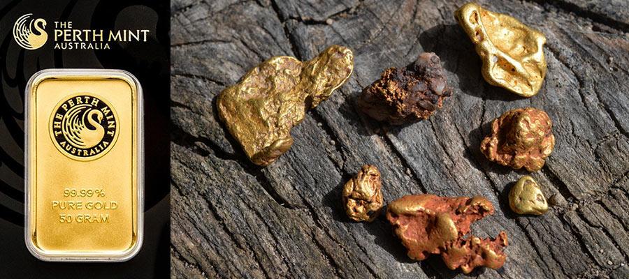 精製された金の延べ棒と自然金