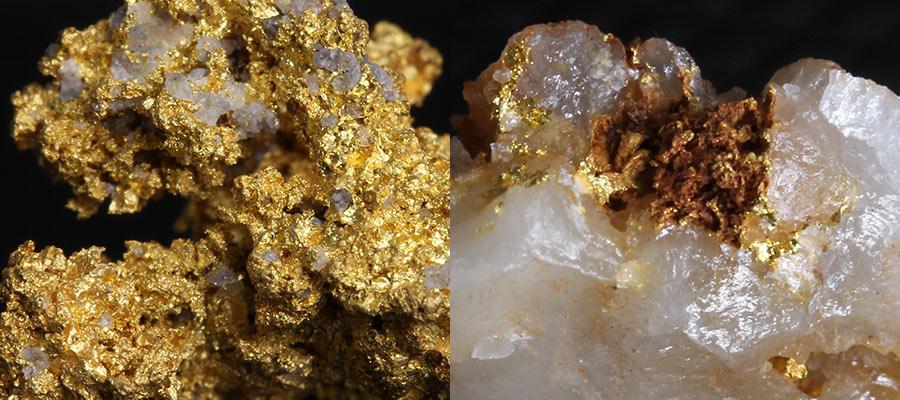 自然金と水晶