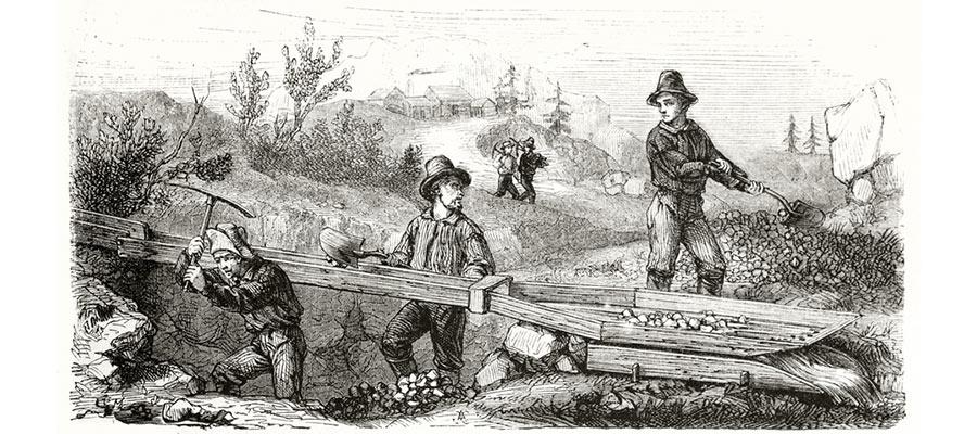 昔の採掘風景